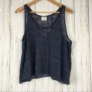Free People Lace Crochet Embellished Tank Top